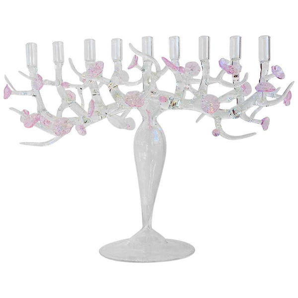 Cherry Blossom Menorah Glass Sculpture