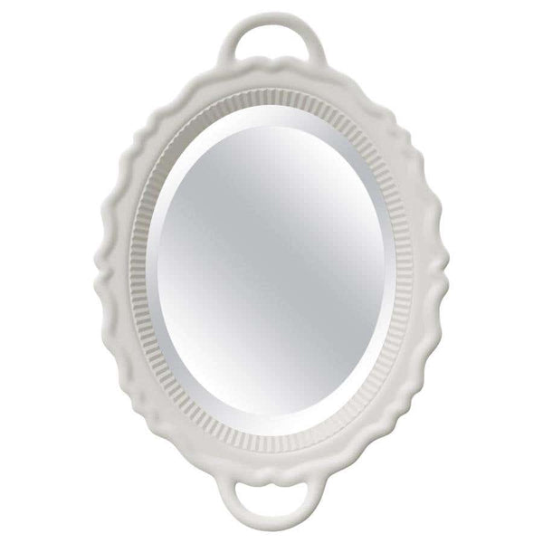 White Oval Plateau Mirror