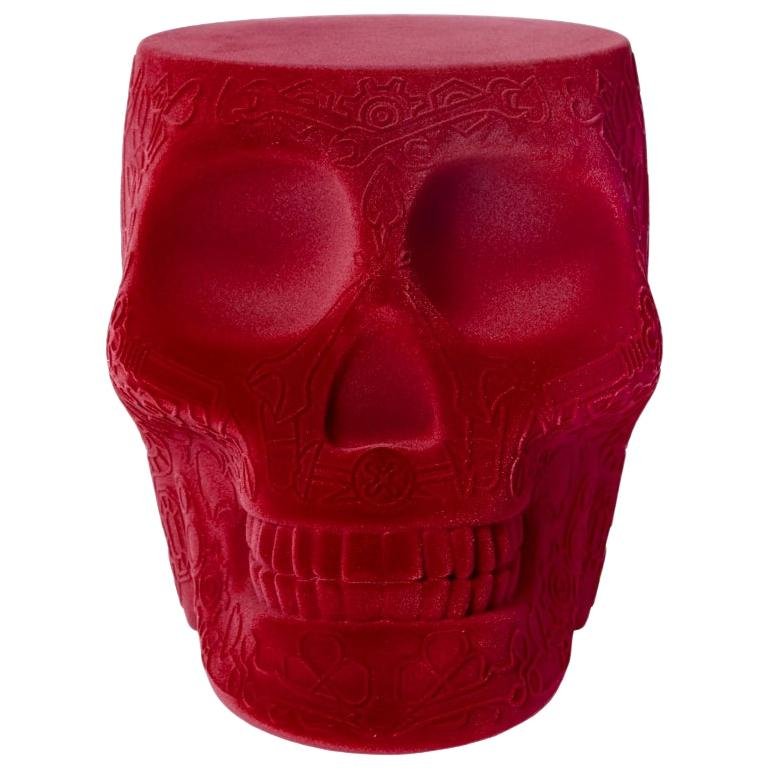 Mexico Red Velvet Skull Stool/Side Table