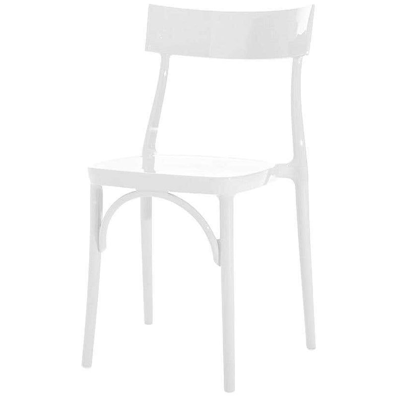 Milani, Glossy White Polycarbonate Dining Chair