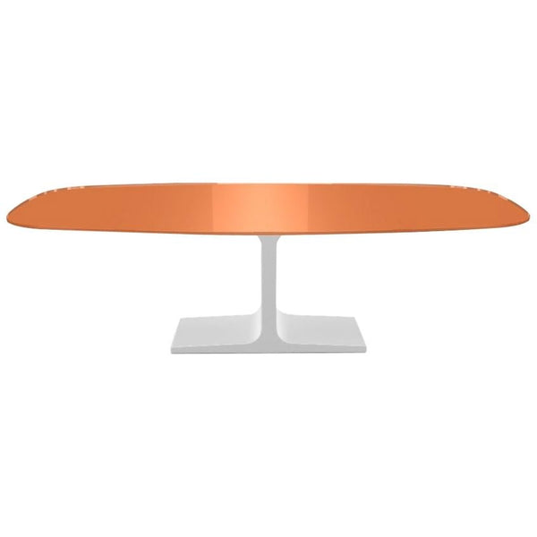 Century, Dining Table Orange Glass Top on Metal Base