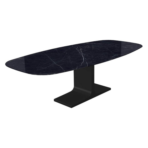Century, Dining Table Marquina Ceramic Top on Metal Base