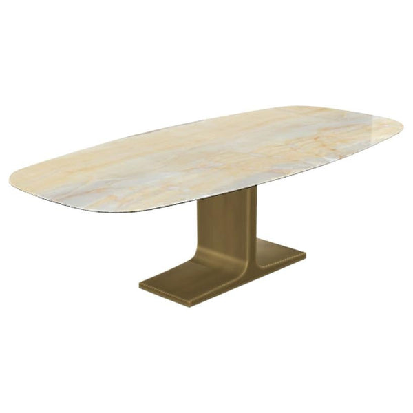 Royal, Dining Table Gold Onyx Ceramic Top on Brass Base