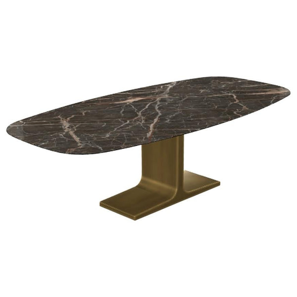 Royal, Dining Table Emperador Ceramic Top on Brass Base