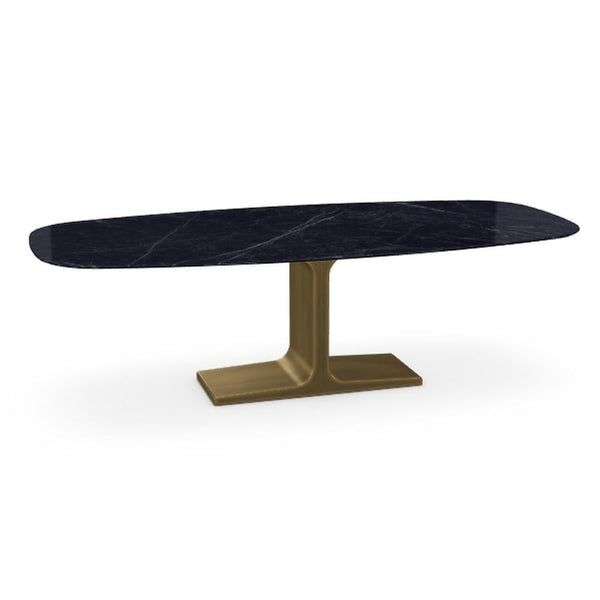 Royal, Dining Table Marquina Ceramic Top on Brass Base