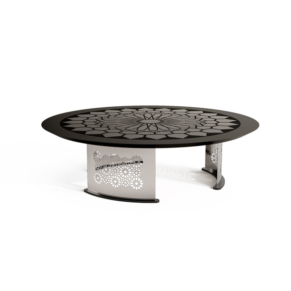 Arabesque Black Lacquer and Glass Coffee Table