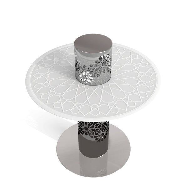 Arabesque White Frosted Glass Tea Table