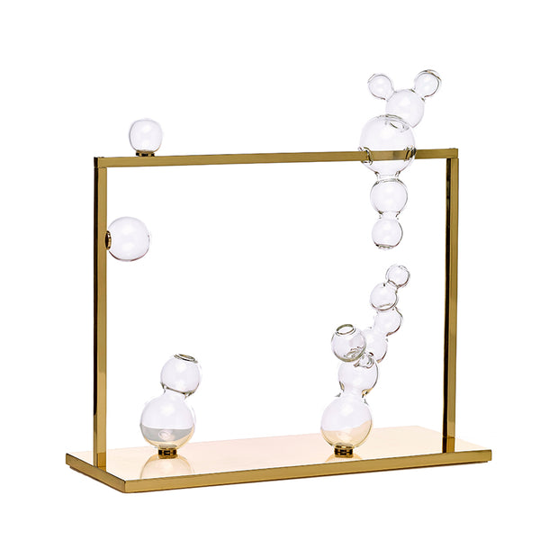 Bubble Vase Glass Sculpture Large with Brass Frame