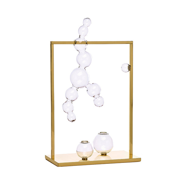 Bubble Vase Glass Sculpture with Brass Frame