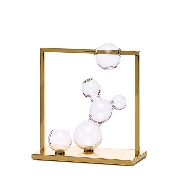 Bubble Vase Glass Sculpture Small with Brass Frame