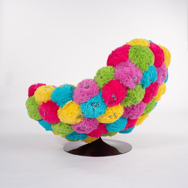 Candy Multi-Color Lounge and Fluffy Swivel Chair