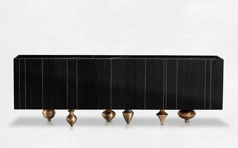 Black Ash wood Sideboard Marquina Marble