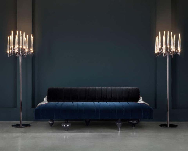 Upholstered Blue Velvet Lounge Sofa