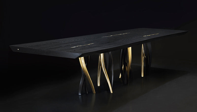 Black and Gold Ash Wood Dining Table