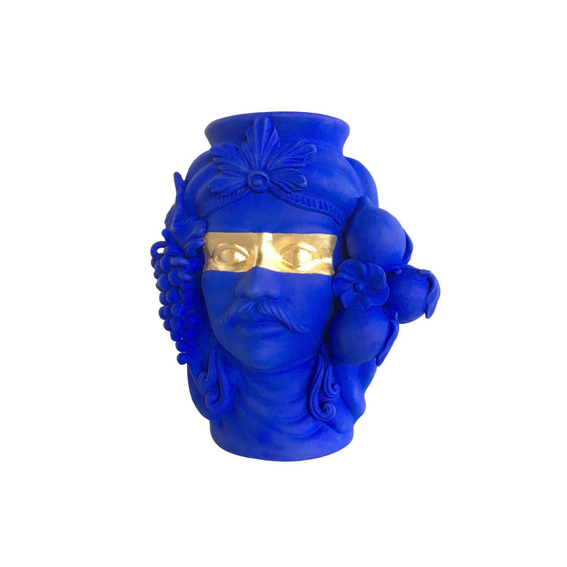 Sasa Blue & Gold Terracotta Vase