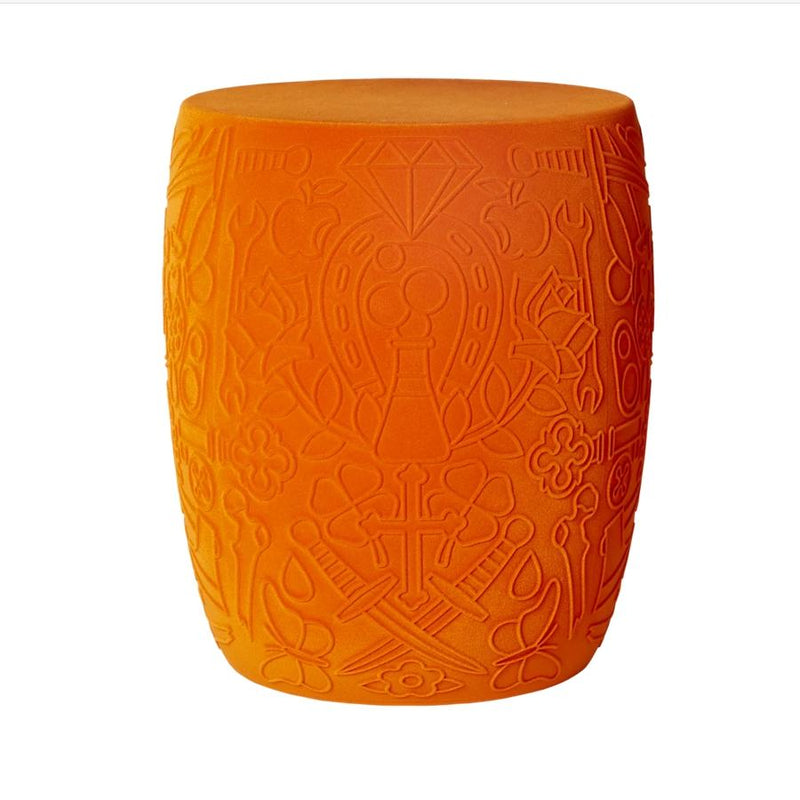 Mexico Orange Velvet Skull Stool / Side Table