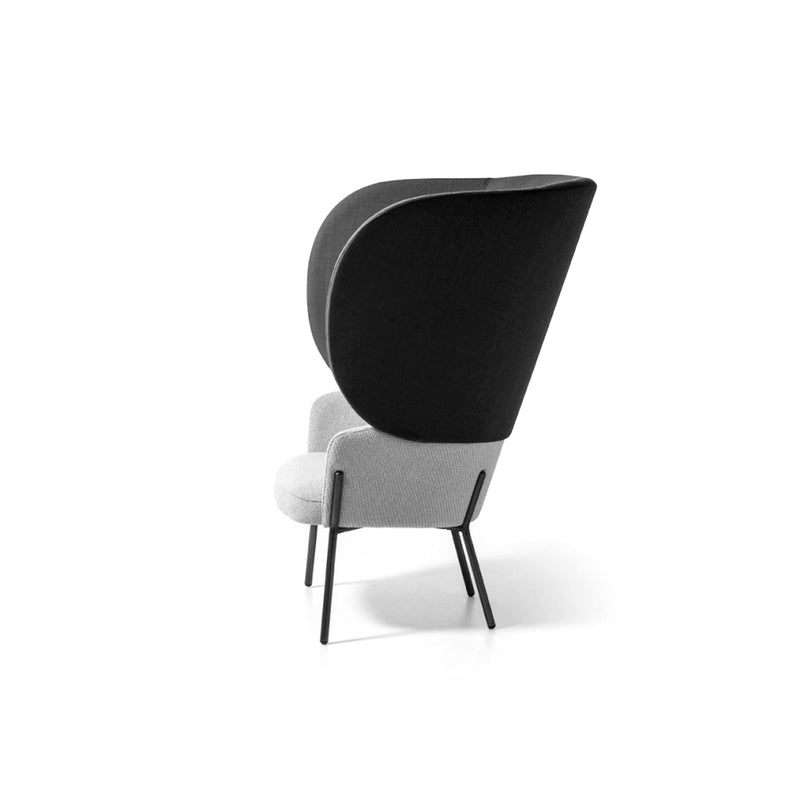 Black & White Upholstered Bergère Chair