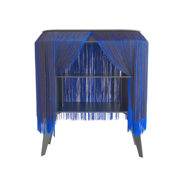 Blue Fringe Side Table / Nightstand