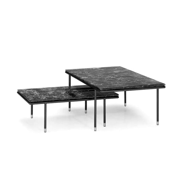 Set of 2 Black Marble Coffee Tables