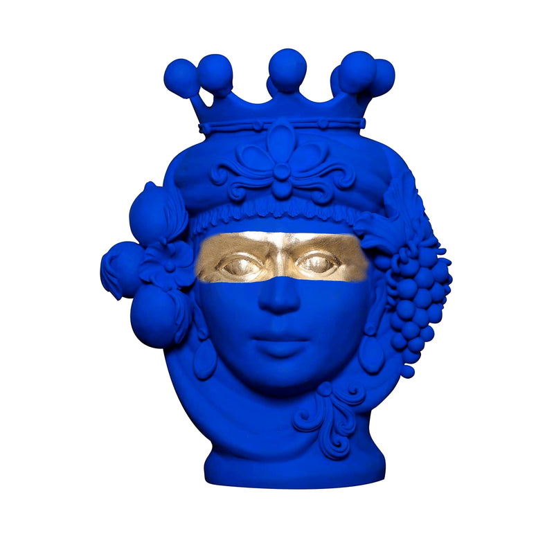 Blue and Gold Terracotta Vase