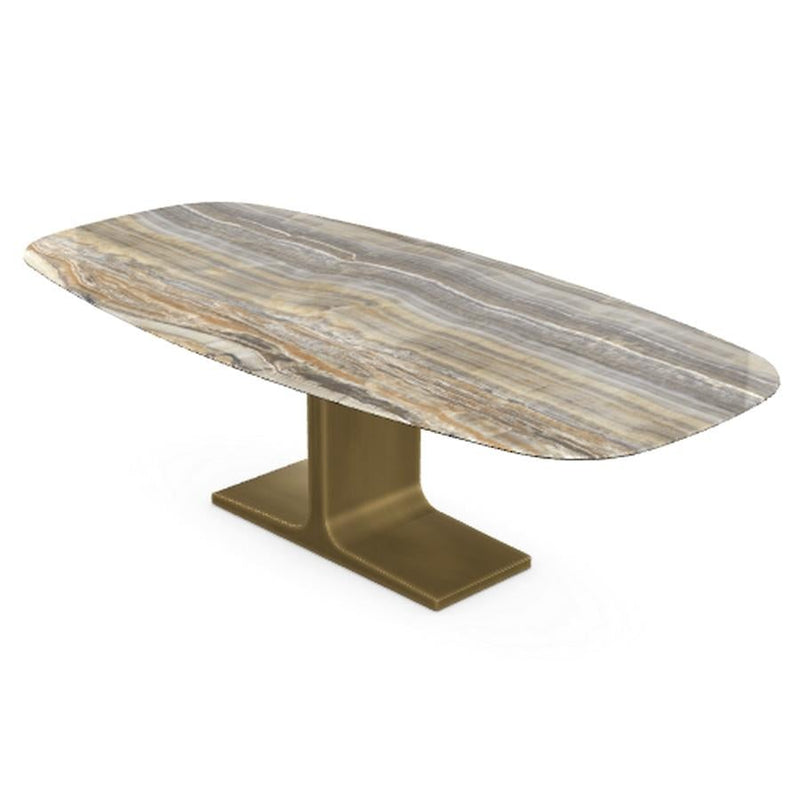 Royal, Dining Table Grey Onyx Ceramic Top on Brass Base