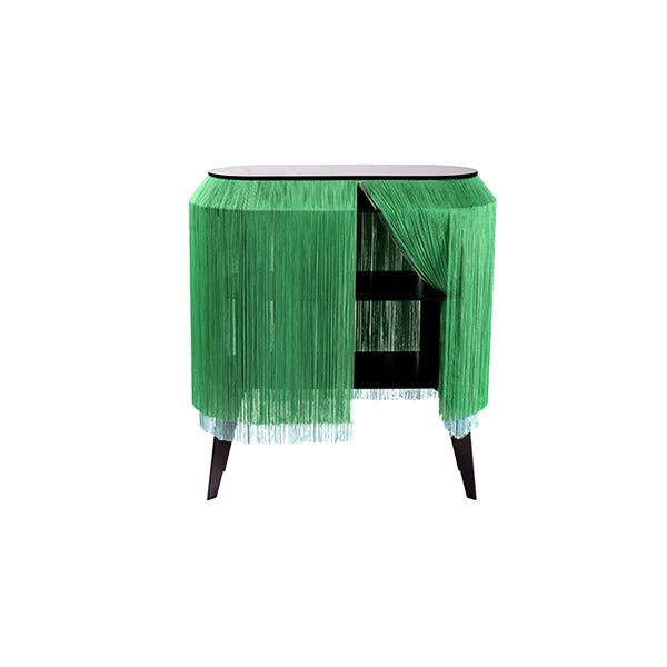 Green Fringe Side Table / Nightstand