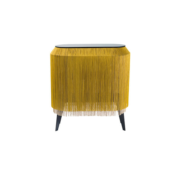 Gold Fringe Side Table / Nighstand