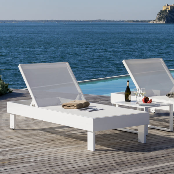 White Aluminum Outdoor Sunbed