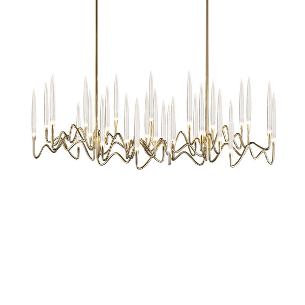 Gold Brass Chandelier with Crystal LEDs