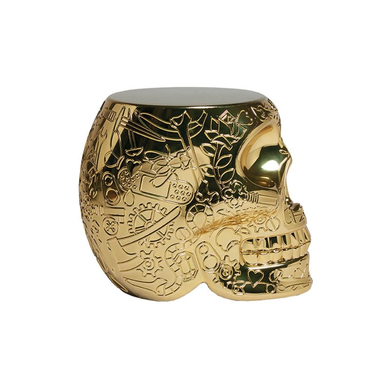 Mexico Gold Metallic Skull Stool/Side Table