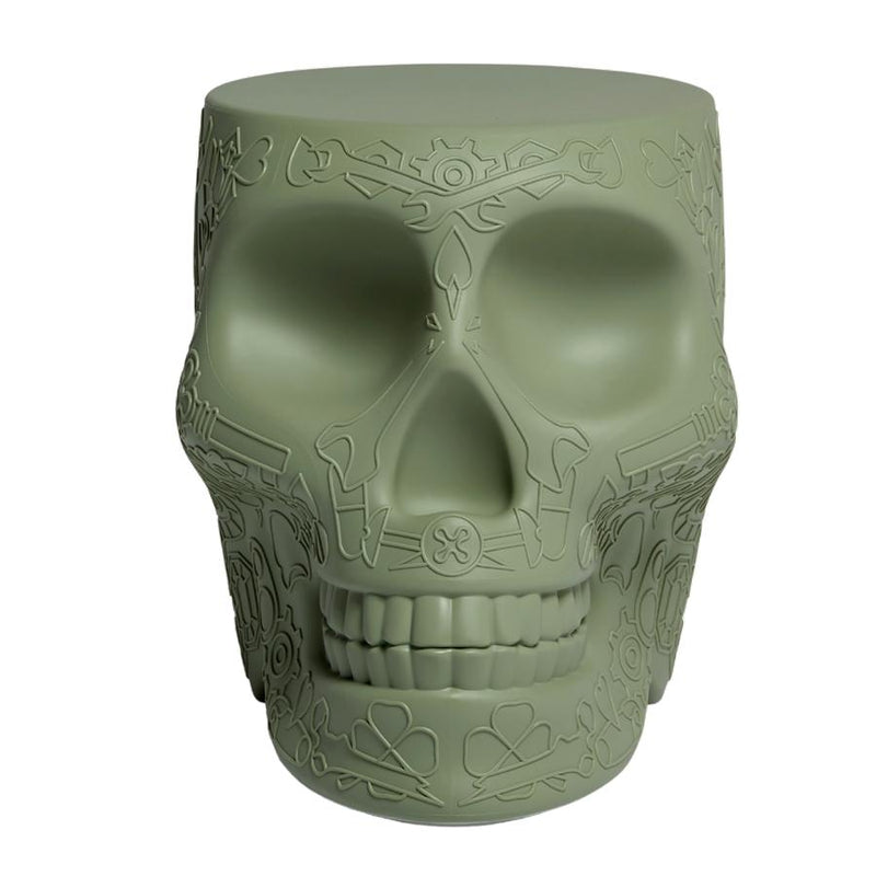 Mexico Skull Balsam Green Stool/Side Table