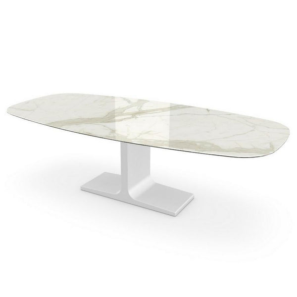 Century, Dining Table Calacatta Ceramic Top on Metal Base