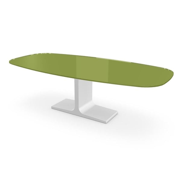 Century, Dining Table Green Glass Top on Metal Base