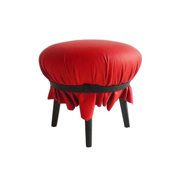 Red Leather Popit Pouf