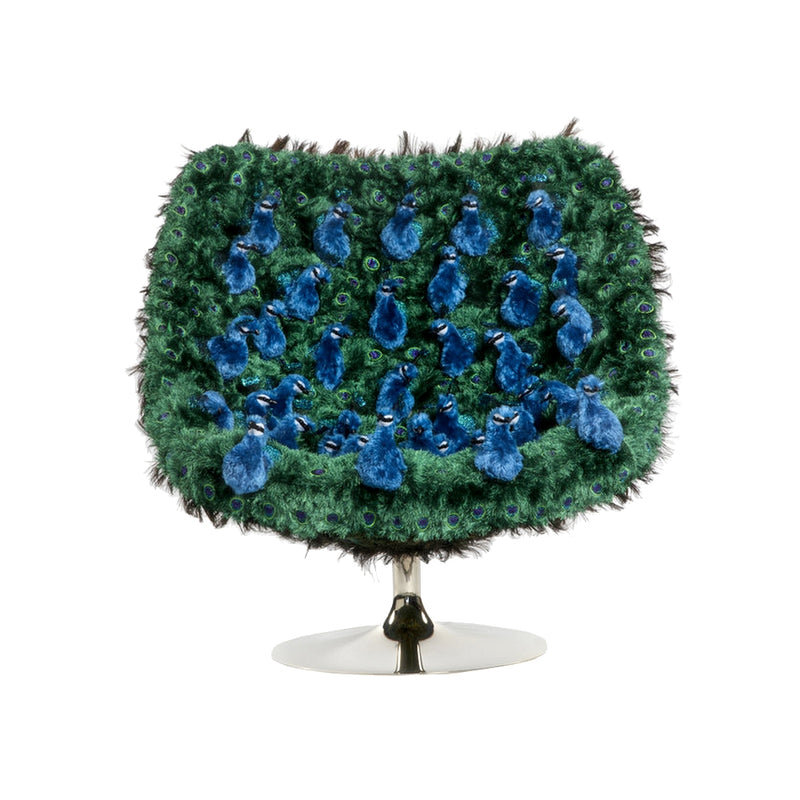 Peacock, Fluffy Lounge Swivel Chair