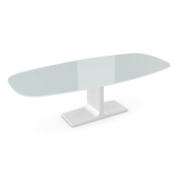 Century, Dining Table White Glass Top on Metal Base