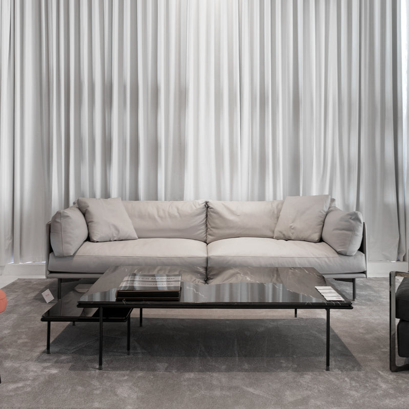 Wilton Leather Grey Sofa