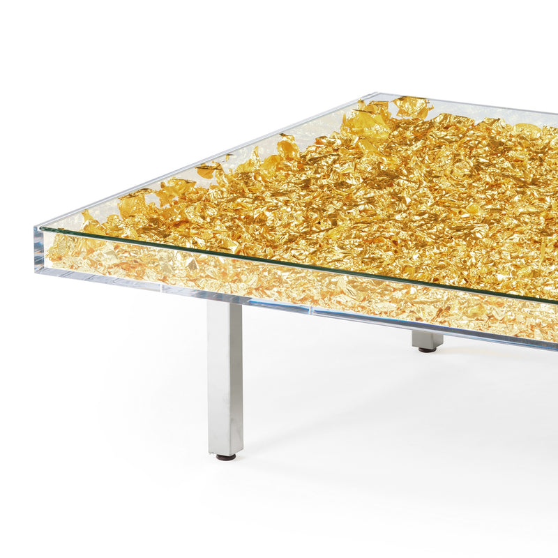 "Yves Klein Gold ""Monogold"" Glass Table"