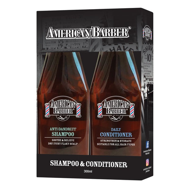 American Barber Anti Dandruff Shamp/Cond 300ml Duo