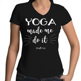 White/Black- Womens V-Neck T-Shirt
