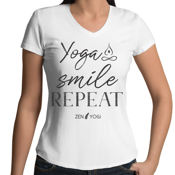 White/Black - Womens V-Neck T-Shirt