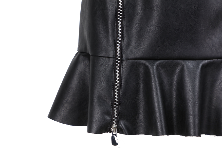 LEATHER FLARED SKIRT