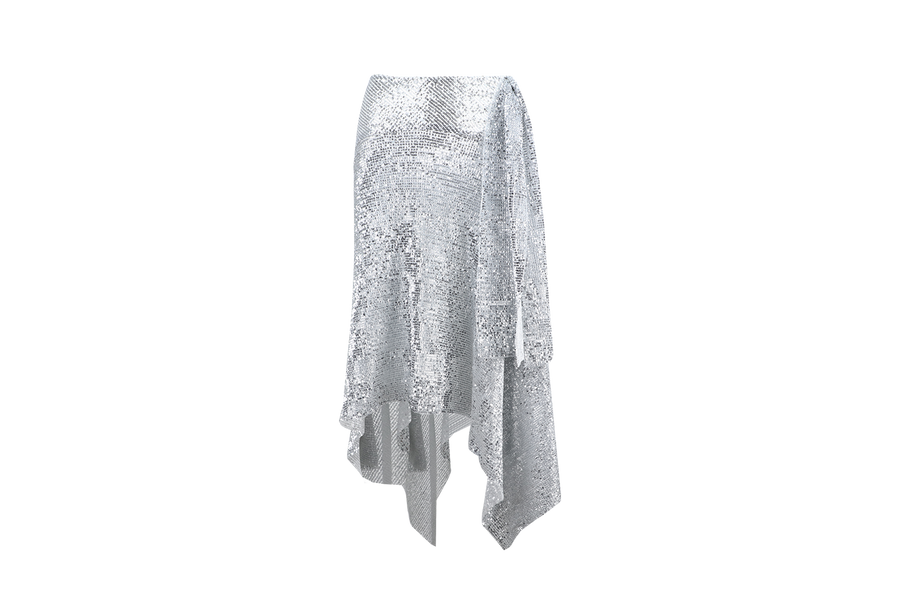 SEQUINED PLEATED SKIRT