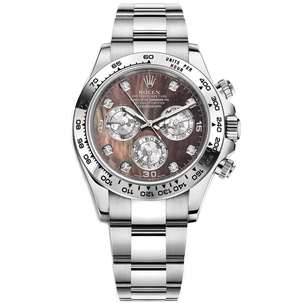 Rolex Daytona 40mm 116509 White Gold Black Mother Of Pearl Diamond Dial