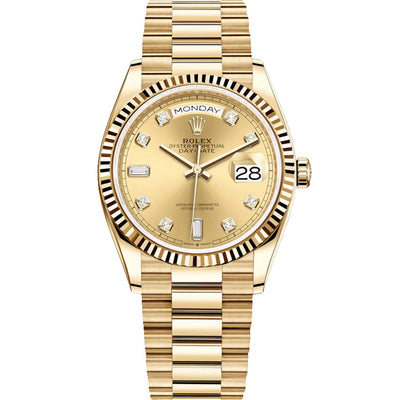 Rolex Day-Date 36mm Presidential 128238 Fluted Bezel Champagne Diamond Dial