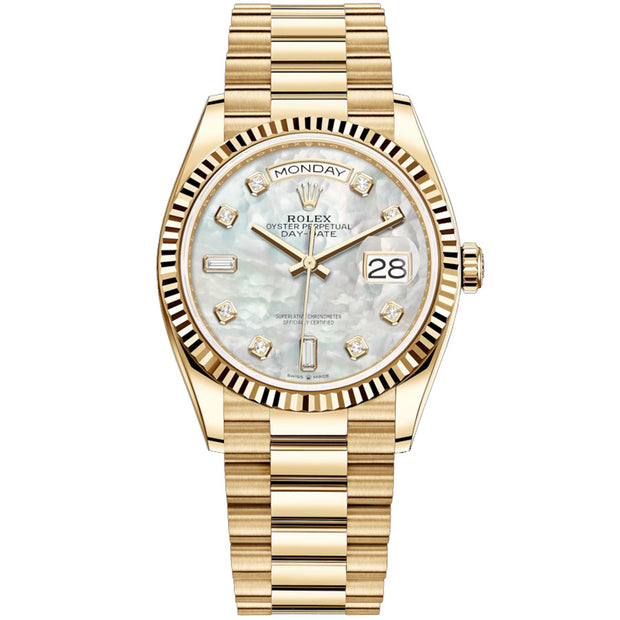 Rolex Day-Date 36mm Presidential 128238 Fluted Bezel White Mother Of Pearl Diamond Dial