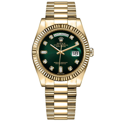Rolex Day-Date 36mm Presidential 128238 Fluted Bezel Green Diamond Dial