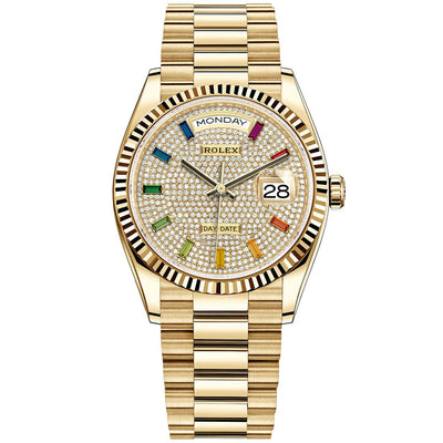 Rolex Day-Date 36mm Presidential 128238 Fluted Bezel Diamond Paved Dial