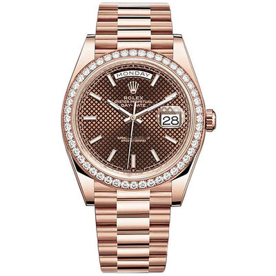 Rolex Day-Date 40 Presidential 228345 Diamond Bezel Chocolate Diagonal Motif Dial