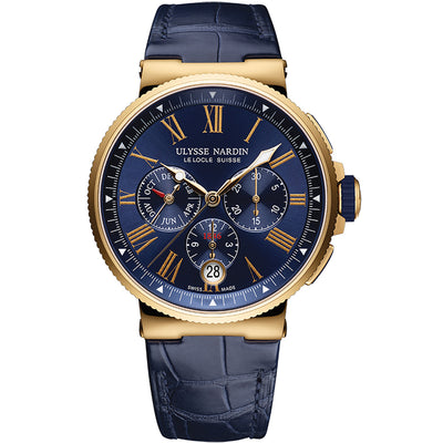 Ulysse Nardin Marine Chronograph Watch 1532-150/43 Blue Dial